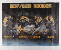 Boston Bruins 2017 / 2018 Rookies 36x43 Photo On Canvas Signed by (4) With Charlie McAvoy, Jake DeBrusk, Danton Heinen & Anders Bjork (McAvoy Hologram & Debrusk Hologram & Heinen Hologram & Bjork Hologram) at PristineAuction.com