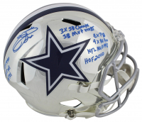 Emmitt Smith Signed LE Dallas Cowboys Full-Size Chrome Speed Helmet with Multiple Career Stat Inscriptions (Beckett COA & Prova Hologram) at PristineAuction.com