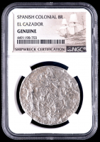Spanish Colonial 8 Reales Silver Shipwreck Coin from the El Cazador (NGC Encapsulated) at PristineAuction.com