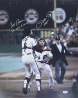 """Pete Rose & Bob Boone Signed Phillies 16x20 Photo Inscribed """"'80 WS Champs"""" & """"Oops"""" (PSA COA) at PristineAuction.com"""