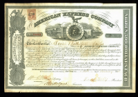 Henry Wells & William Fargo Signed American Express Stock Certificate (Beckett LOA) at PristineAuction.com