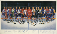 LE NHL 500 Goal Club 22x37 Lithograph Signed by (17) with Bobby Hull, Gordie Howe, Lanny Macdonald, Guy LaFleur (Beckett LOA) at PristineAuction.com