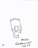 """Matt Groening Signed """"The Simpsons"""" 11x14 Original Hand-Drawn Bart Simpson Sketch Cut with Year Inscription (PSA COA) at PristineAuction.com"""
