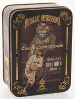 Complete Set of (5) Babe Ruth Metallic Impressions Embossed Metal Collector Cards in Original Tin at PristineAuction.com