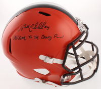 """Nick Chubb Signed Cleveland Browns Full-Size Speed Helmet Inscribed """"Welcom To The Dawg Pound"""" (JSA COA) at PristineAuction.com"""