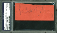Paul McCartney & Linda McCartney Signed 1.5x3.75 Cut (PSA Encapsulated) at PristineAuction.com