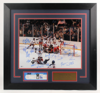"1980 ""Miracle on Ice"" Team USA 27.5x29.5 Custom Framed Photo Display Team-Signed by (19) with Mike Eruzione, Jim Craig, Bill Baker, Dave Christain, Steve Christoff (Beckett Hologram) at PristineAuction.com"