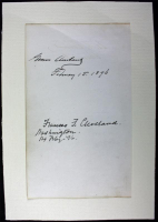 "Grover Cleveland & Frances Cleveland Signed 5x8 Cut Inscribed ""February 15, 1896"" & ""Washington 14 May, 1896"" (PSA LOA) at PristineAuction.com"