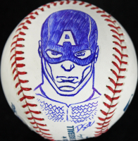 Stan Lee Signed OML Baseball with Original Hand-Drawn Captain America Sketch (PSA COA) at PristineAuction.com