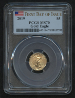 2019 $5 Five Dollars American Gold Eagle Saint-Gaudens 1/10 Oz Gold Coin - First Day of Issue (PCGS MS 70) at PristineAuction.com