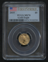 2015 $5 Five Dollars American Gold Eagle Saint-Gaudens 1/10 Oz Gold Coin - First Strike (PCGS MS 70) at PristineAuction.com