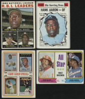 Lot of (4) Hank Aaron Baseball Cards with 1964 Topps #11 NL RBI Leaders, 1970 Topps #462 All-Star, 1974 Topps #6 & 1974 Topps #332 All-Star at PristineAuction.com
