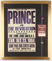 """Prince & the Revolution """"Purple Rain"""" 19.5x23 Custom Framed Promotional Poster Display with (2) Vintage Pins & 1984 VIP Backstage Pass at PristineAuction.com"""