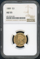 1889 $3 Piece Gold Coin (NGC AU 55) at PristineAuction.com