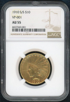 1910 S/S $10 Indian Head Gold Coin (NGC AU 55) at PristineAuction.com