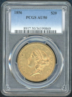 1856 $20 Liberty Gold Coin (PCGS AU 50) at PristineAuction.com