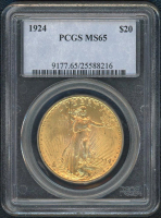 1924 $20 Saint Gaudens Gold Coin (PCGS MS 65) at PristineAuction.com