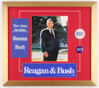 Ronald Reagan 18x20 Custom Framed Photo Display with Reagan Presidential Campaign Pin & Bumper Sticker at PristineAuction.com