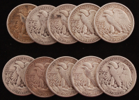 Lot Of (10) Walking Liberty Silver Half Dollar Coins at PristineAuction.com