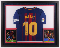 Lionel Messi Signed 33x41 Custom Framed Jersey Display (Beckett COA) at PristineAuction.com