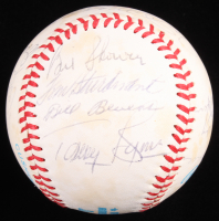 New York Yankees Old Timers OAL Baseball Signed by (18) With Joe DiMaggio, Mickey Mantle, Enos Slaughter, Johnny Mize (JSA ALOA) at PristineAuction.com