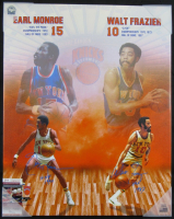 "Walt Frazier & Earl Monroe Signed New York Knicks 24x30 Canvas Inscribed ""HOF 1990"" & ""HOF 1987"" (JSA COA) at PristineAuction.com"