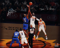"""DeAndre Ayton Signed Phoenix Suns 16x20 LE Photo Inscribed """"Time to Rise"""" (Game Day Legends COA & Steiner Hologram) at PristineAuction.com"""