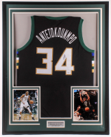 Giannis Antetokounmpo Signed 35x43 Custom Framed Jersey (JSA COA) at PristineAuction.com
