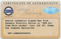"Henrik Lundqvist Signed New York Rangers LE Electric Guitar Inscribed ""NYR All-Time Wins Leader"" (Steiner COA) at PristineAuction.com"