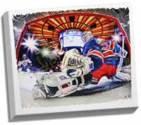 Henrik Lundqvist Signed New York Rangers 22x26 Photo on Canvas (Steiner COA) at PristineAuction.com
