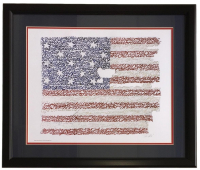 United States of America 22x27 Custom Framed National Anthem Word Art Photo Display at PristineAuction.com