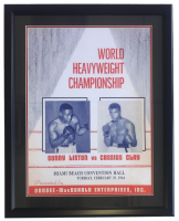 Sonny Liston vs Cassius Clay World Heavyweight Championship 24x30 Custom Framed Poster Display at PristineAuction.com