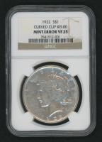 Mint Error - 1922 Peace Silver Dollar, Curved Clip @3:00 (NGC VF 25) at PristineAuction.com