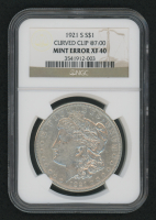 Mint Error - 1921-S Morgan Silver Dollar, Curved Clip @7:00 (NGC XF40) at PristineAuction.com