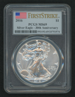 2016 American Silver Eagle $1 One-Dollar Coin - First Strike, 30th Anniversary (PCGS MS69) (U.S. Flag Label) at PristineAuction.com