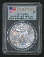 2016 American Silver Eagle $1 One-Dollar Coin - First Strike, 30th Anniversary (PCGS MS70) (U.S. Flag Label) at PristineAuction.com