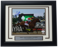 "Mike Smith Signed ""Belmont Stakes""11x14 Custom Framed Photo Display (Sports Integrity COA & JSA Hologram) at PristineAuction.com"