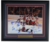 "1980 ""Miracle on Ice"" Team USA 22x27 Custom Framed Photo Display Team-Signed by (14) with Mike Eruzione, Jim Craig, Bill Baker, Dave Christain, Steve Christoff (JSA COA) at PristineAuction.com"