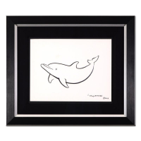 "Wyland Signed ""Dolphin"" 22x18 Custom Framed Original Sketch at PristineAuction.com"