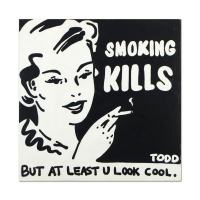 "Todd Goldman Signed ""Smoking Kills"" 36x36 Original Acrylic Painting on Gallery Wrapped Canvas at PristineAuction.com"