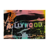 "Steve Kaufman Signed ""Hollywood"" Hand Embellished Limited Edition 34x24 Silkscreen on Canvas TP #5/50 at PristineAuction.com"