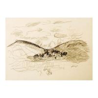 "Wayne Ensrud Signed ""View of Volnay in Burgundy"" 15x18 Pencil Original Artwork at PristineAuction.com"
