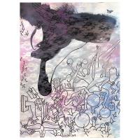 "Mark Kostabi Signed ""Index In The Clouds"" 30x22 Original Artwork at PristineAuction.com"