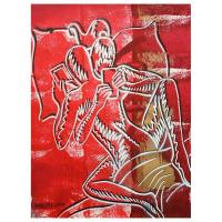 "Mark Kostabi Signed ""Sexting (Scarlet Desire)"" 30x22 Original Artwork at PristineAuction.com"
