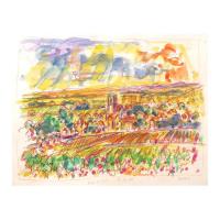 "Wayne Ensrud Signed ""View of Pommard, Burgundy"" 13x16 Mixed Media Original Artwork at PristineAuction.com"