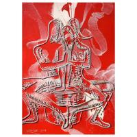 "Mark Kostabi Signed ""Crimson Solidarity"" 42x29 Original Artwork at PristineAuction.com"