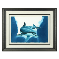 "Wyland Signed ""Dolphin Swim"" 43x34 Custom Framed Original Watercolor Painting at PristineAuction.com"