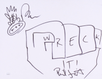 "Rich Moore & Phil Johnston Signed 11x14 ""Wreck-It Ralph"" Sketch on Sketch Board Inscribed ""Wreck It!"" (JSA COA) at PristineAuction.com"
