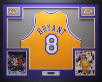 Kobe Bryant Signed 35x43 Custom Framed Throwback Jersey (PSA COA) at PristineAuction.com