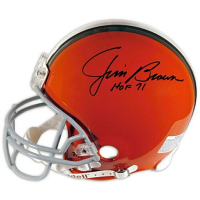 "Jim Brown Signed Cleveland Browns Full-Size Authentic On-Field Helmet Inscribed ""HOF 71"" (Fanatics Hologram) at PristineAuction.com"